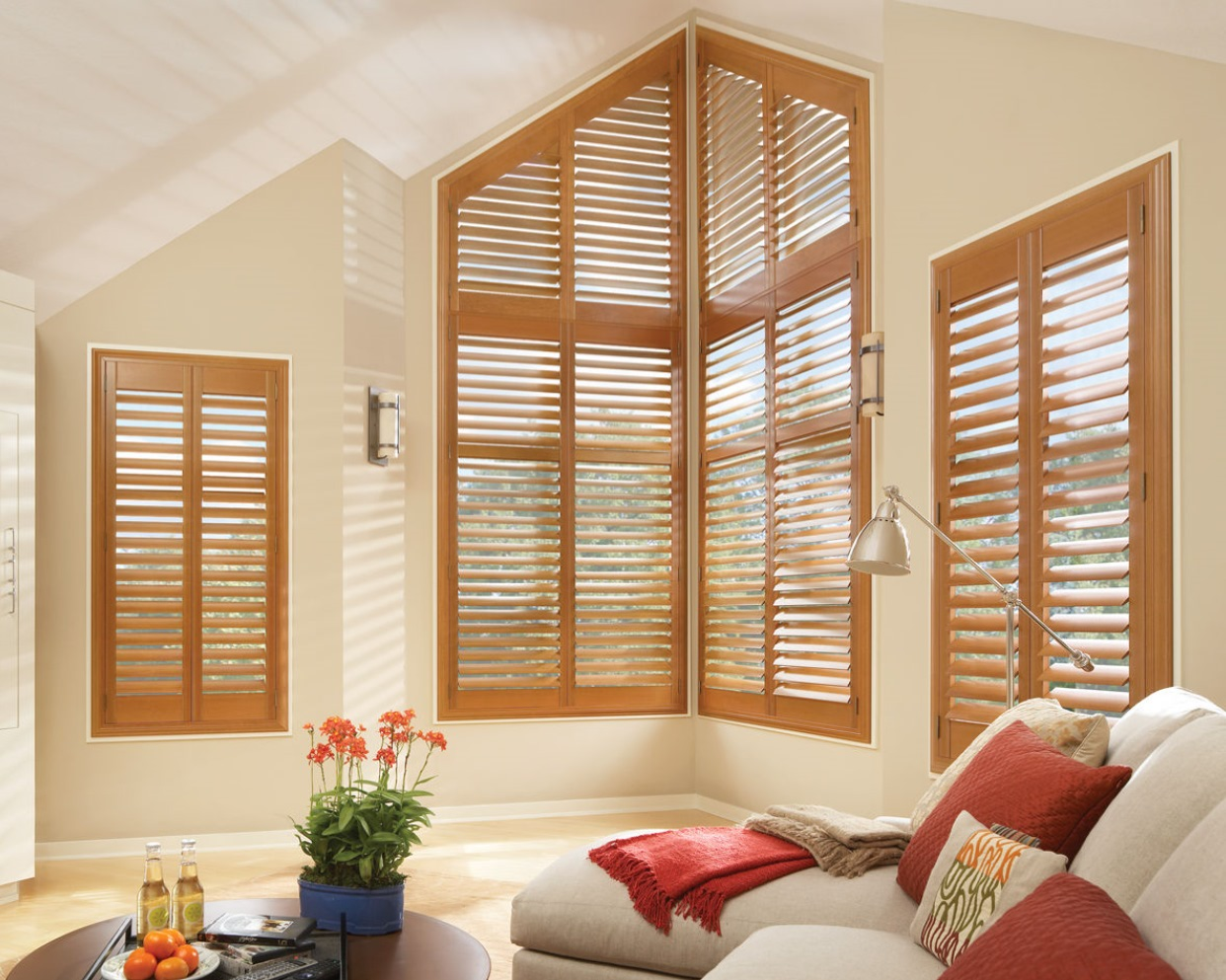 Wood shutters for odd-shaped windows