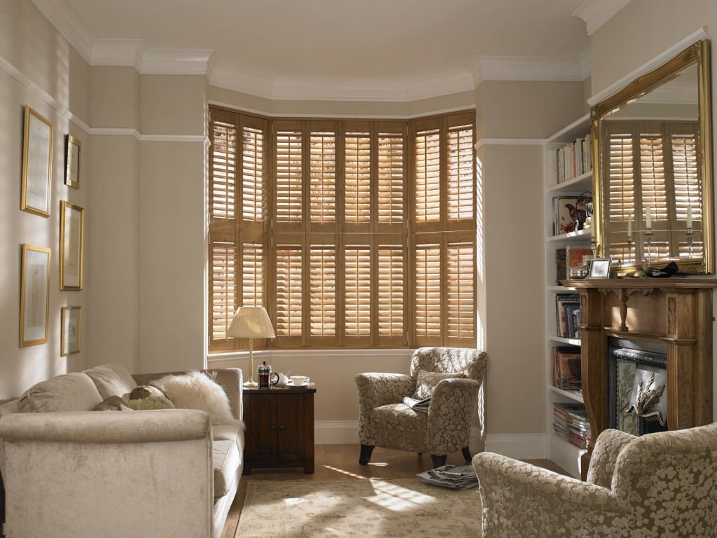 Interior wood windows - Wooden Shutters For Bay Windows