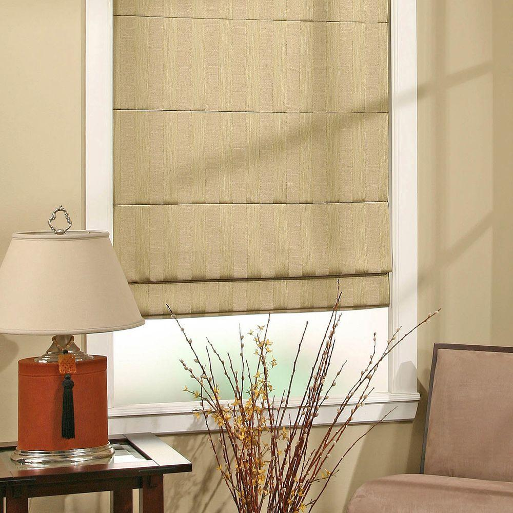 Rear-tucked Roman shades