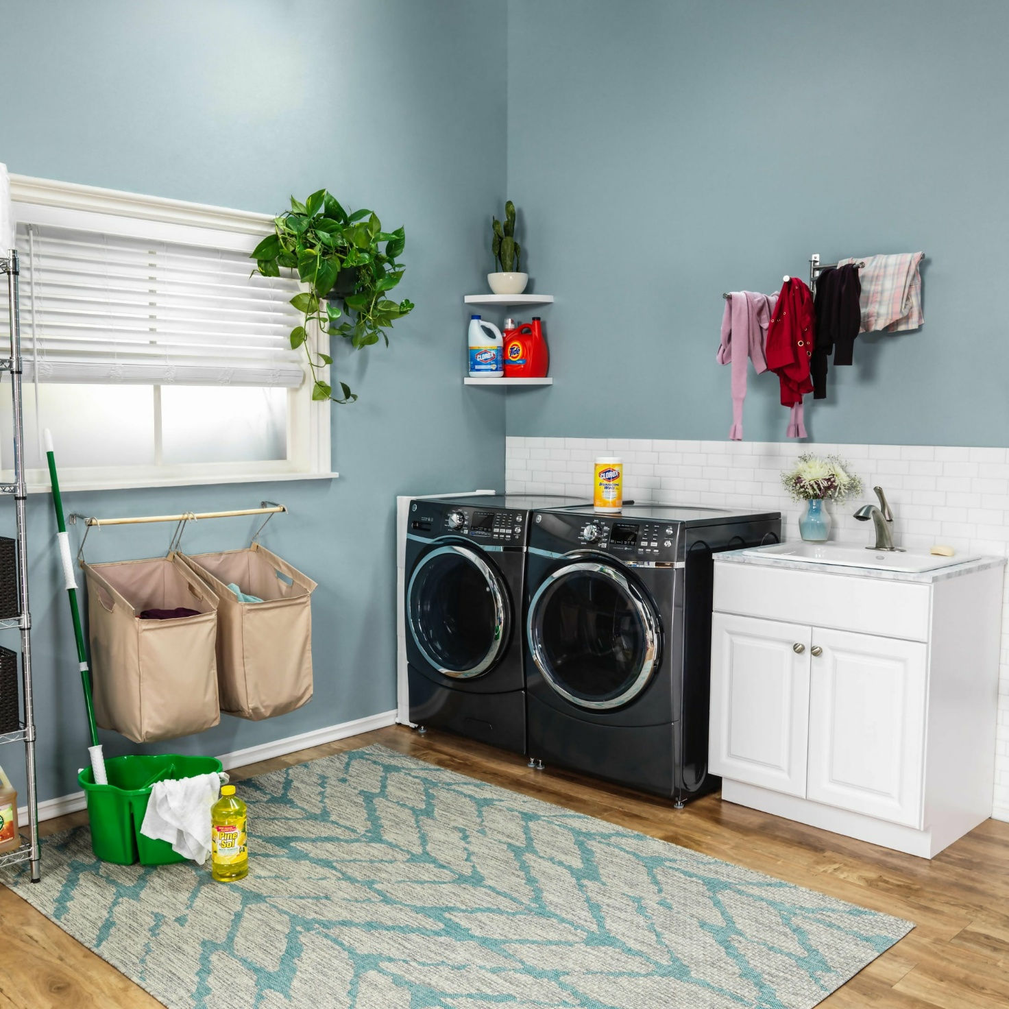 A Laundry Room With A Window