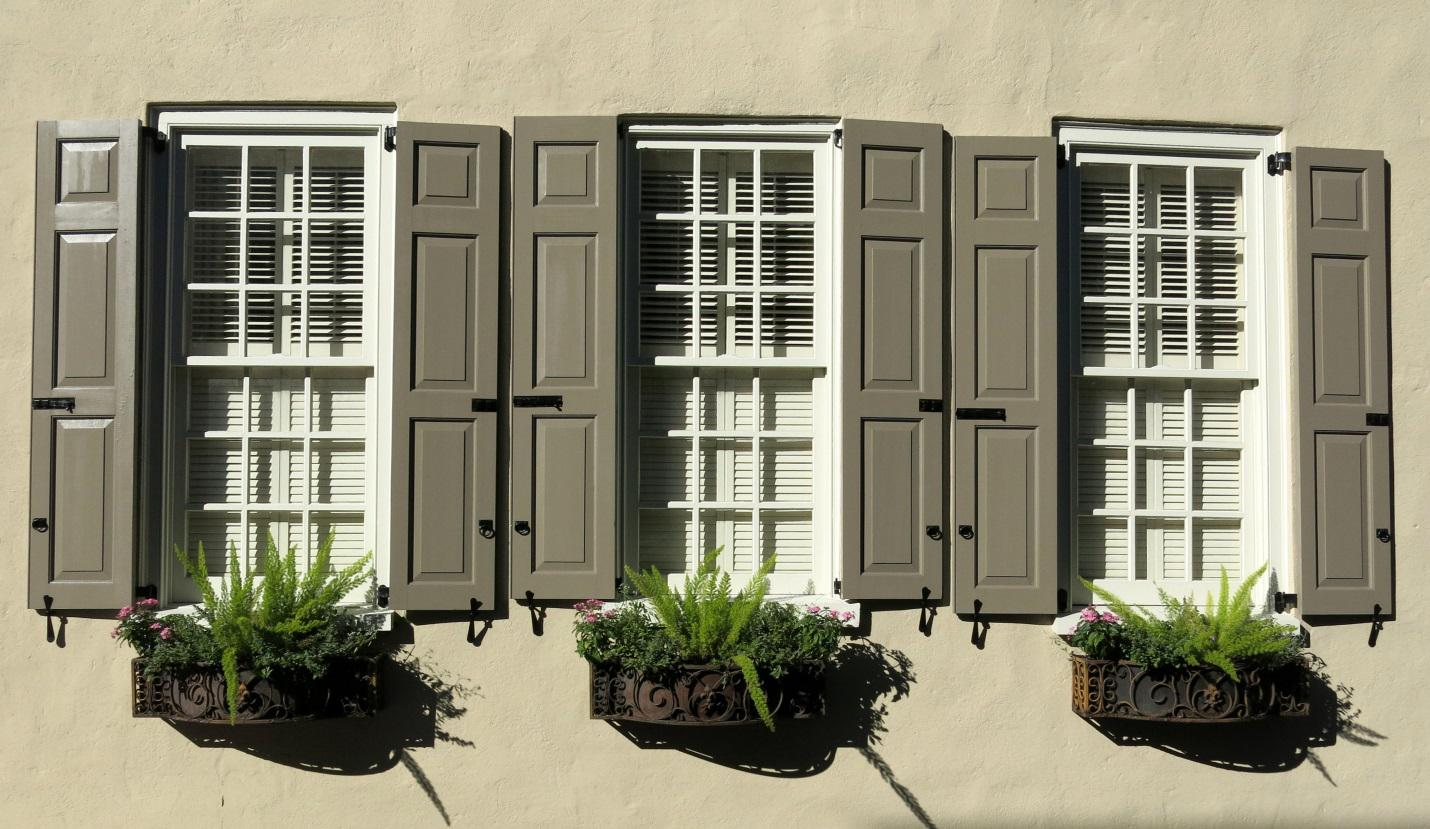 Exterior windows with shutters - Composite Exterior Shutters