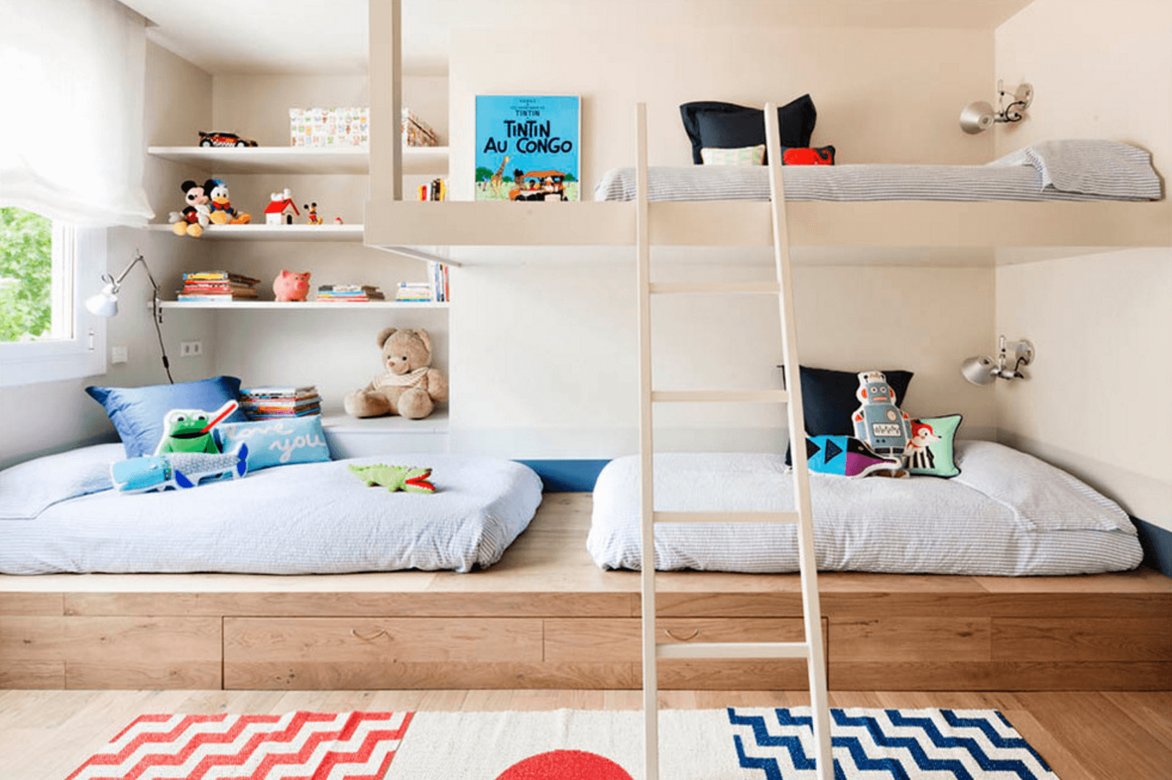 Shared Kids' Room With A Bunk Bed