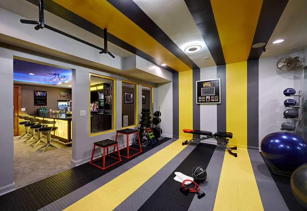 Home Gym with the Multicolored Walls