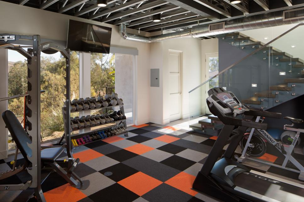Gym with a Colorful Carpet