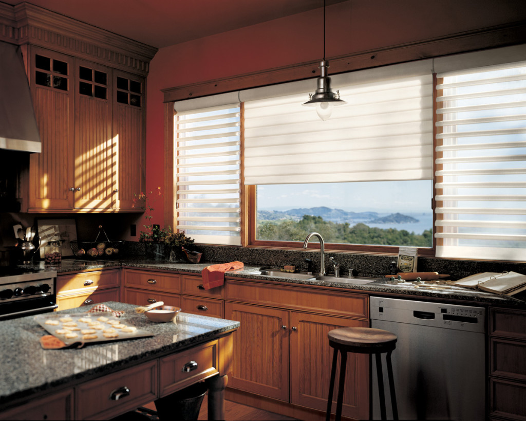 Hunter Douglas Pirouette shades for kitchen