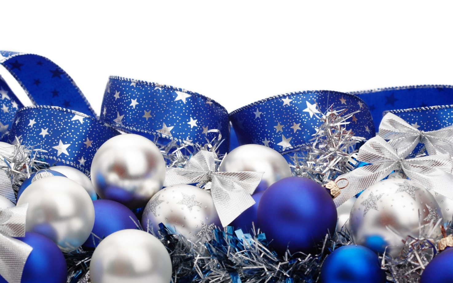 White/silver and blue Christmas decorations