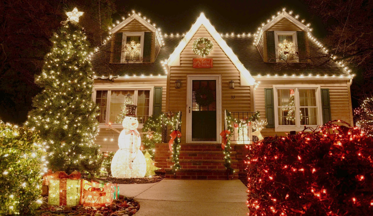Bright outdoor Christmas decorations