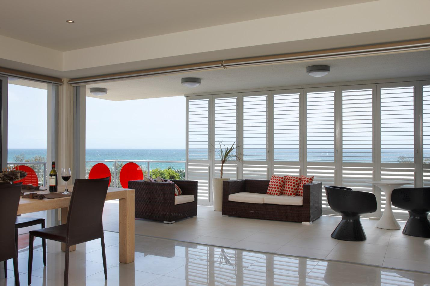 Plantation shutters for terraces