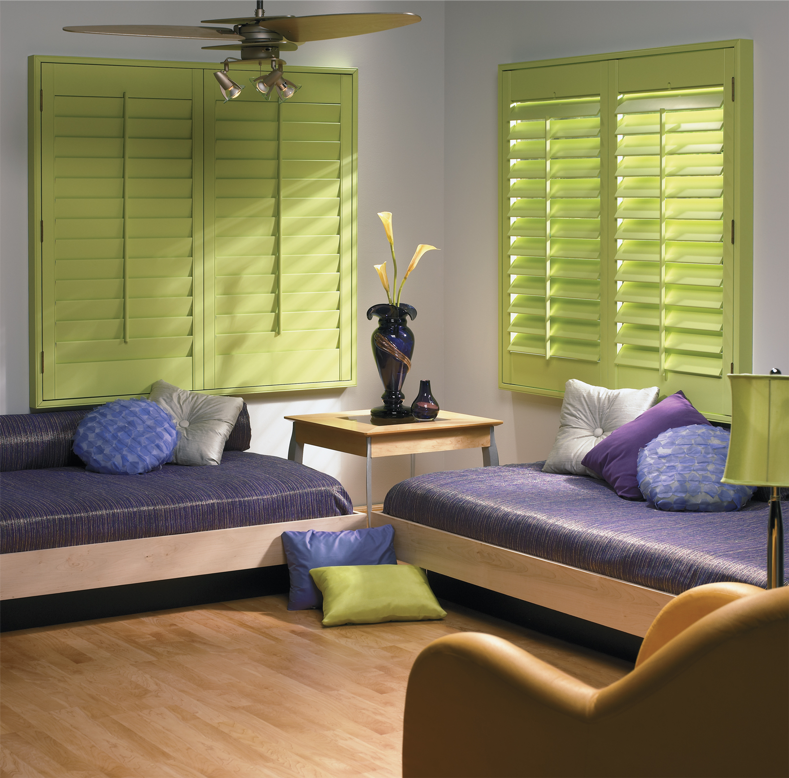 Faux wood shutters for modern interiors