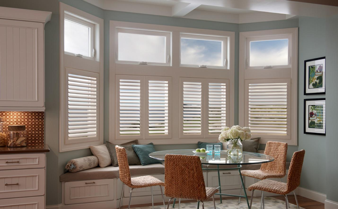 Plantation shutters for bay windows