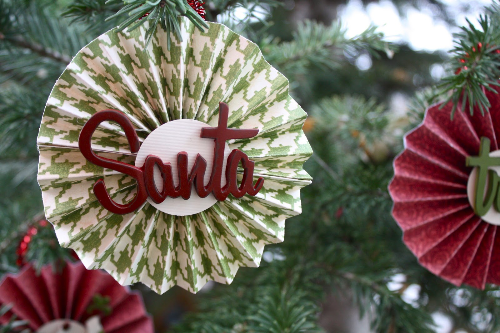 Wooden, paper and glass Christmas decorations