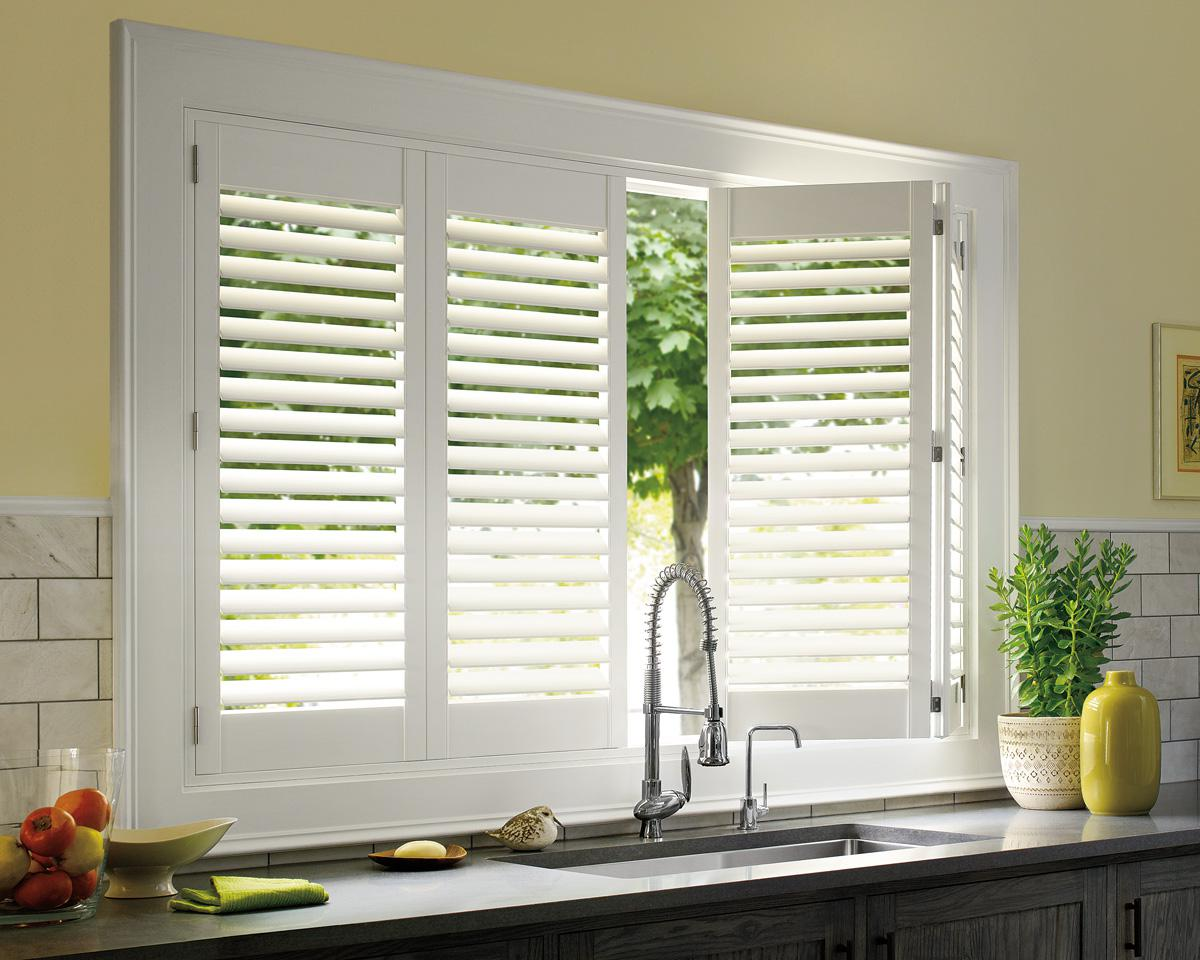 Plantation shutters for kitchen windows